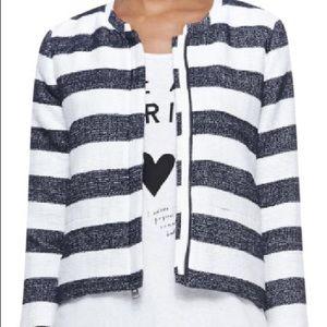 Splendid tweed-like blue and white stripe jacket